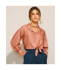 camisa cropped de viscose com nó manga bufante rosê
