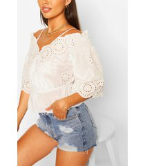 broderie cold shoulder top, ivory