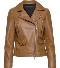 frida vegetal leather jacket läderjacka skinnjacka brun mdk / munderingskompagniet