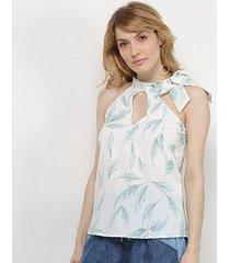 blusa acostamento estampada gola amarração feminina