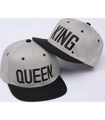 set 2pcs king queen couple baseball cap embroidery black white red gray for love