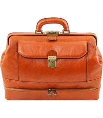 tuscany leather tl141297 giotto - esclusiva borsa medico in pelle con doppio fondo miele