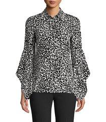 asymmetric sleeve silk blouse