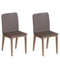 conjunto com 2 cadeiras darwin marrom e freijó