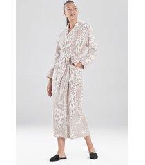 natori plush leopard sleep & lounge bath wrap robe, women's, size l natori
