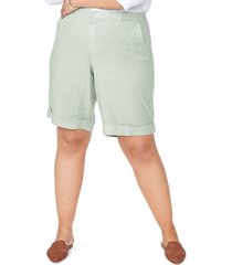 plus size women's nydj linen bermuda shorts, size 14w - green
