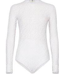 women's fendi x sarah coleman ff fisheye logo mesh bodysuit, size large - white