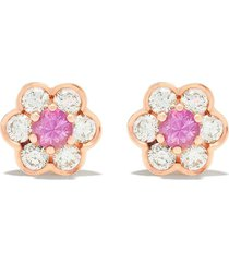 david morris 18kt rose gold diamond berry flower stud earrings