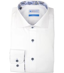 bos bright blue overhemd wit contrast knoop 20106we41bo/100 white