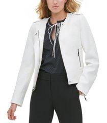 tommy hilfiger textured zip-front jacket