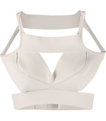 rick owens structured cut-out tank top - neutrals