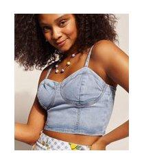 top cropped jeans feminino emi beachwear com alça fina e decote coração azul médio