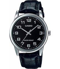 reloj casio caballero elegante mtp-v001l-1b color negro
