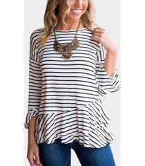 black stripe round neck flared sleeves t-shirt