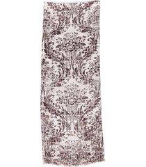 loro piana printed cashmere silk scarf brown/gray sz: