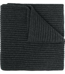 dolce & gabbana thick ribbed knit scarf - grey