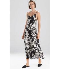 mantilla scroll gown robe, women's, black, silk, size l, josie natori