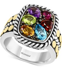 effy multi-gemstone statement ring (2-1/10 ct. t.w.) in sterling silver & 18k gold