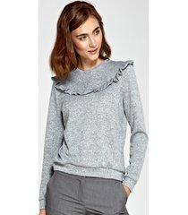 sweter z falbankami szary