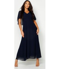 cape detail chiffon maxi dress, navy