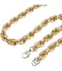 corrente de aço inox tudo jóias trançada dupla cor prata/gold