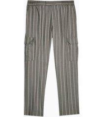 mens black grey stripe cargo pants