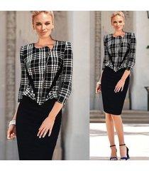 elegante vestido de trabajo de patrón para mujer ropa de trabajo de oficina ol vestido a media pierna lápiz-negro
