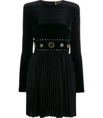 fausto puglisi pleated studded waistband dress - black