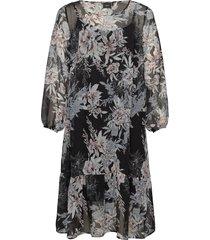 dress floral print plus long sleeves knälång klänning multi/mönstrad zizzi