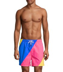 solid and striped men's the classic colorblock swim shorts - blue - size l