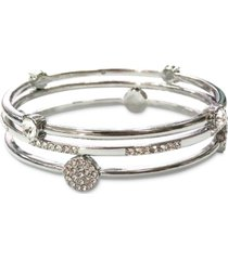 inc silver-tone 3-pc. set crystal-accented bangle bracelets, created for macy's