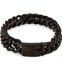 eye candy la men's christian black-painted titanium chain bracelet