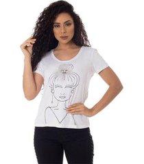 t-shirts daniela cristina gola u profundo 21 10259 2 branco - branco - pp - feminino