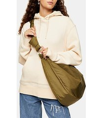 considered khaki oversized nylon sling hobo bag - khaki