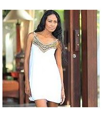 beaded dress, 'scintillating in white' (indonesia)