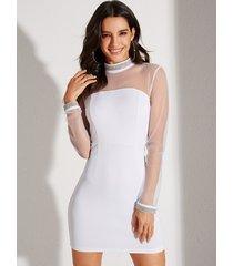 yoins empalme de malla transparente blanca sexy vestido