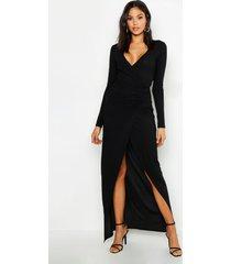 tall geplooide maxi jurk met laag decolleté, zwart