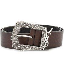 saint laurent decorative buckle logo belt - brown