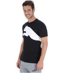 camiseta puma oversize logo - masculina - preto/branco