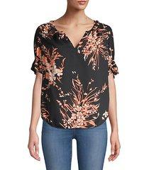 arlinda floral ruffle sleeve chiffon blouse
