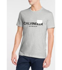 camiseta masculina slim nyc cinza mescla calvin klein - pp