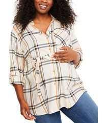 motherhood maternity plus size plaid cotton shirt