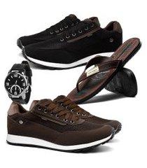 kit 2 tênis sapatênis casual esporte fino conforto rebento preto e café com chinelo danper e relógio