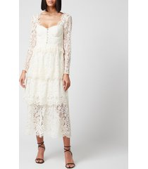 self portrait women's fine corded lace tiered midi dress - ivory - uk 10