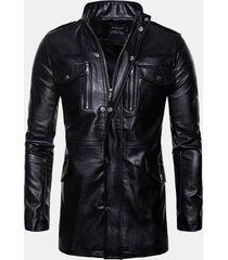 giacca mid-long in pelle da uomo