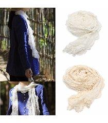 scialle trasparente ricamato floreale del crochet del merletto della cinghia lunga della sciarpa