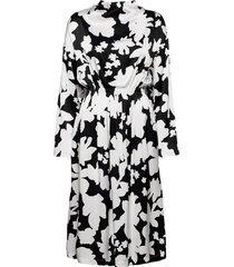 jay, 1039 printed rayon knälång klänning svart stine goya