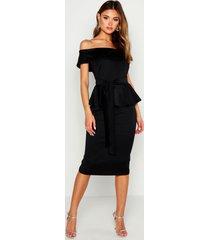off the shoulder peplum midi dress, black