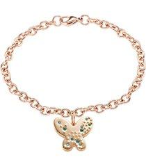 bracciale farfalla in acciaio rosè e cristalli verdi per donna