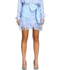 n° 21 skirt n ° 21 mini skirt in poplin with feather bottom